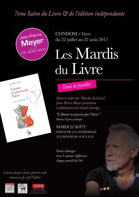 """""""L'Amour ne passera pas l'hiver"""" de Jean-Pierre Meyer sera présenté aux Mardis du Livre de Condom (Gers)"""
